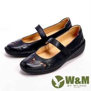 【W&M】雕刻設計魔鬼氈休閒女鞋-黑