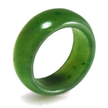BRILLMOND 天然絕美菠菜綠和闐碧玉戒