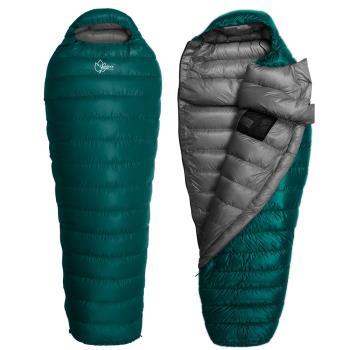 【OutdoorBase】Snow Monster-頂級羽絨保暖睡袋匈牙利白鴨絨FP700+UP loft Premium Duck 極輕量羽絨睡袋-24660(孔雀綠.深灰/600g)