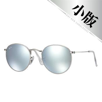 【Ray-Ban雷朋】RB3447-019/30 歐美超模復古圓框款-水銀炫彩太陽眼鏡(水銀灰鏡#銀框)