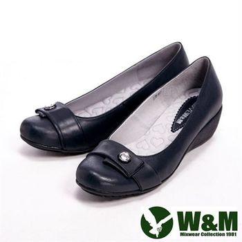 【W&M】 真皮簡約氣質單顆亮鑽楔型女鞋- 黑(另有紫)