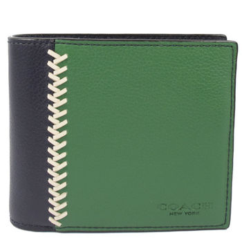 COACH 75170 經典LOGO撞色皮革附活動夾中短夾.黑/綠