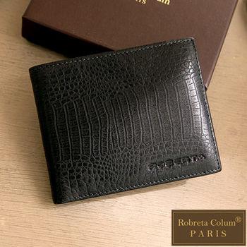 Roberta Colum - 經典鱷魚紋真皮系基本款左右翻12卡2照短夾