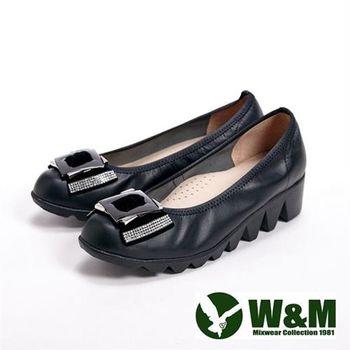 【W&M】絨面貼鑽方環女鞋休閒鞋-黑(另有灰)