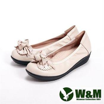 【W&M】日系造型休閒鞋女鞋-米(另有黑)