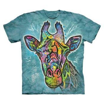 【摩達客】(預購)美國進口The Mountain 彩繪長頸鹿 純棉環保短袖T恤