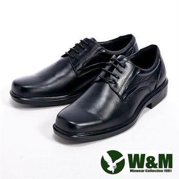 【W&M】真皮氣墊綁帶方頭男皮鞋-黑