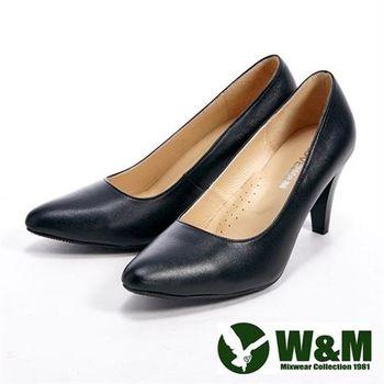 【W&M】 真皮質感經典女高跟鞋-黑