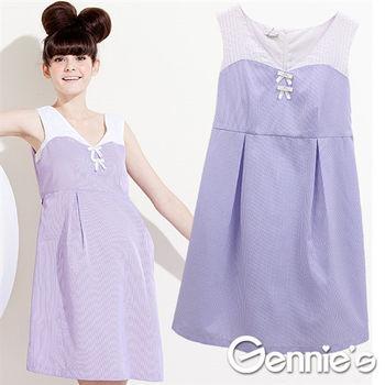 【Gennie's奇妮】棉質假兩件條紋春夏孕婦洋裝-粉藍(G1320)