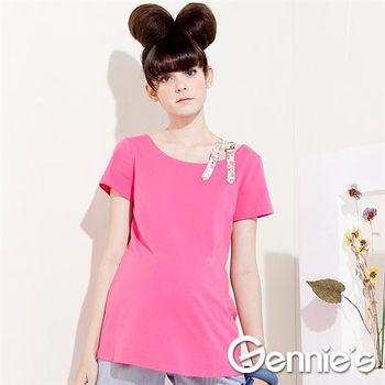 【Gennie's奇妮】造型肩帶棉質素色春夏孕婦上衣(G3301)-2色可選