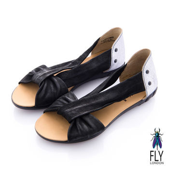 Fly London(女) 繆思女神 V字綁帶交叉涼鞋 - 女神黑