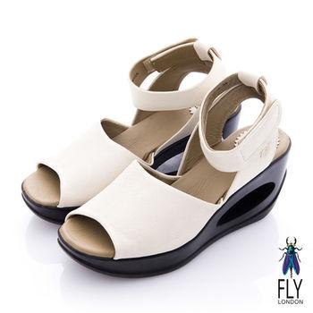 Fly London(女) 鄰家女孩 魚口繫踝洞力高跟涼鞋 - 白