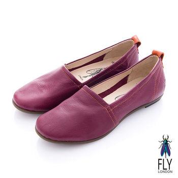 Fly London(女) 清麗佳人 三角包楦舒適單色休閒鞋 - 酒紅