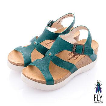 Fly London(女) 女王之夏 縷空鞋面雙層楔型涼鞋 - 石綠
