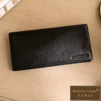 Roberta Colum - 經典鱷魚紋魅力真皮系12卡1照兩折式長夾