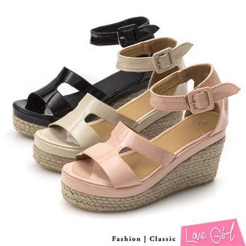 ☆Love Girl☆軟漆皮造型工字環踝楔型涼鞋