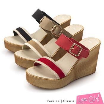 ☆Love Girl☆清涼休閒感雙寬帶楔型拖鞋