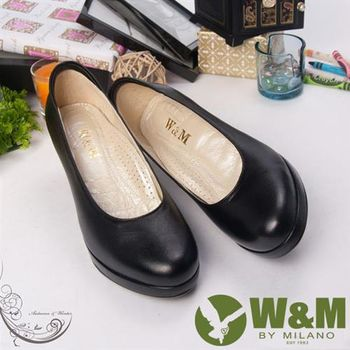 【W&M】小牛皮舒適上班族中跟女鞋-黑