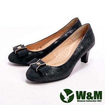 【W&M】 真皮質感燙金雪花造型高跟女鞋- 黑(另有灰)
