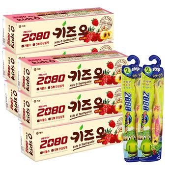 【韓國2080】有機莓果兒童牙膏(100gX6入)+第2階段兒童抗菌牙刷(2-5歲)x2