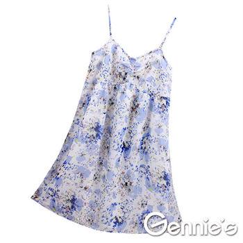 【Gennie's奇妮】沁藍雪紡春夏孕婦背心洋裝-藍(G1333)