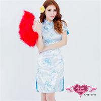 天使霓裳  旗袍 復古氣質 經典旗袍裝 角色服(淺藍F)-L1175