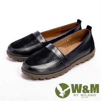 【W&M】BOUNCE輕量系列 接拼皮革光感休閒女鞋-黑(另有咖)