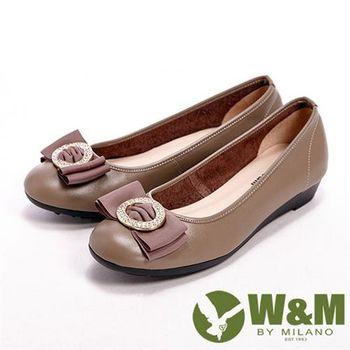 【W&M】 真皮緞帶壓圓扣閃亮亮楔型女鞋-卡其 (另有黑)