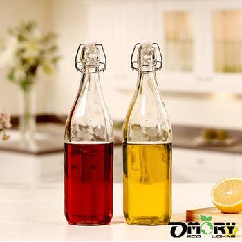 【OMORY】懷舊風矽膠密封玻璃冷水瓶-1000ml/500ml