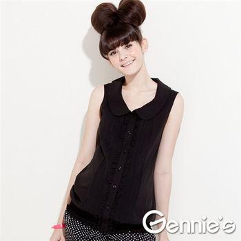 【Gennie's奇妮】輕量寬版~雪紡氣質褶飾孕婦背心上衣(G3321)-3色可選