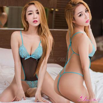 【Anna Mu】情趣睡衣 翠藍黑網紗蕾絲性感連身衣