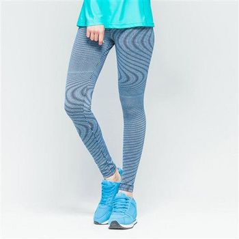 【美國 AIRWALK】時尚條紋運動緊身長褲-女 -深藍