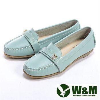 【W&M】貓頭鷹可水洗柔軟防滑鞋底 豆豆鞋莫卡辛鞋女鞋-淺藍(另有棕、粉)