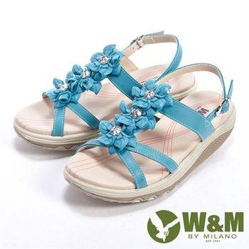【W&M】美麗三花扣環式涼鞋女鞋-淺藍(另有粉)