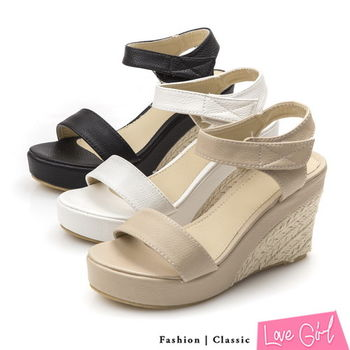 ☆Love Girl☆夏日皎潔一字魔鬼氈楔型涼鞋