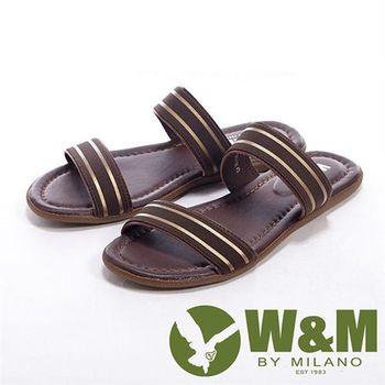 【W&M】搭配金色分段設計男鞋拖鞋-咖
