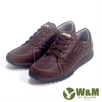 【W&M】Fit 系列 健走健塑鞋 綁帶休閒男鞋-咖