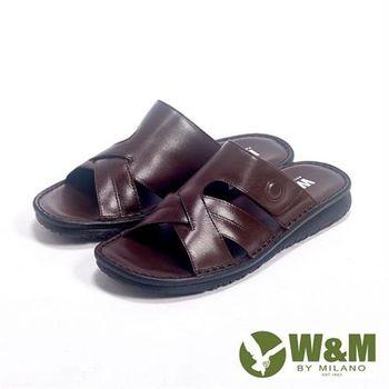 【W&M】亮皮透氣厚底軟墊涼拖鞋男鞋-咖