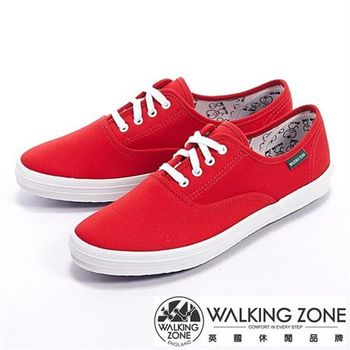 【WALKING ZONE】果漾YOUNG純棉帆布女鞋-紅(另有黑/白/黃/藍/粉/深藍)
