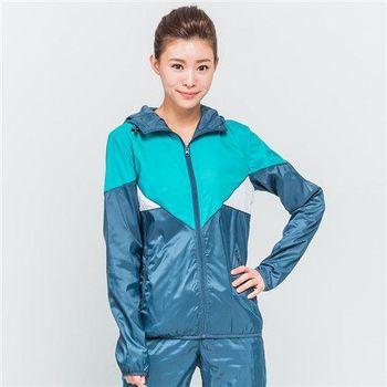 【美國 AIRWALK】拼接色塊連帽風衣外套-女 -深藍