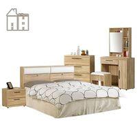 【AT HOME】凱文超值雙人臥室五件組(床底+床頭箱+床頭櫃+三斗櫃+化妝桌椅)