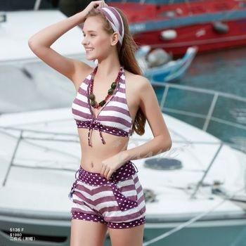 【沙麗品牌】俏麗燈籠褲設計時尚三件式比基尼泳裝NO.5136(現貨+預購)