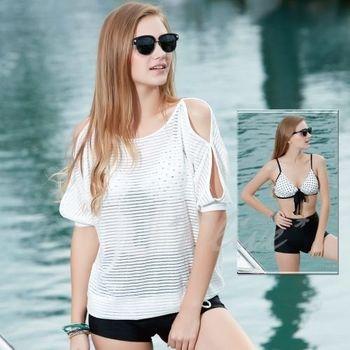 【沙麗品牌】性感露肩設計罩衫時尚三件式比基尼泳裝NO.5138(現貨+預購)