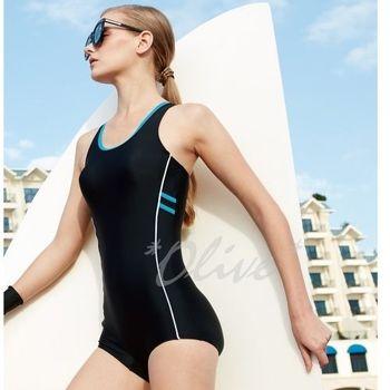 【沙麗品牌】修飾側身線條時尚平口連身泳裝NO.5127(現貨+預購)