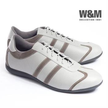 【W&M】撞色舒適皮革TPR高彈性大底 男仕休閒鞋-灰