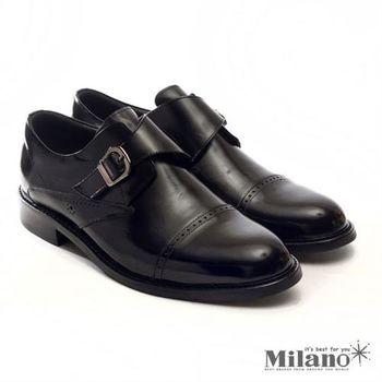 【W&M】帶扣裝飾魔鬼氈雕花 紳士皮鞋 黑