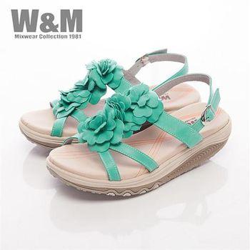 【W&M】FIT 三花造型健走族健塑鞋扣環女鞋-綠(另有桃粉)
