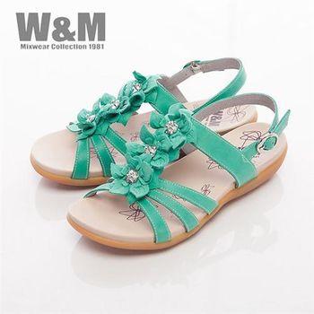 【W&M】美麗三花扣環式涼鞋女鞋-綠(另有紫)