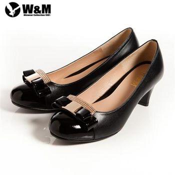【W&M】迷人亮眼亮鑽金屬蝴蝶結舒適透氣軟墊中跟淑女鞋 黑(另有卡其)