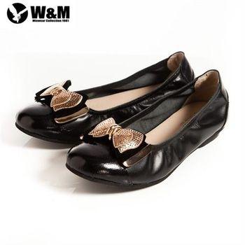 【W&M】2014金屬片蝴蝶結優雅時尚好穿搭柔軟平底鞋-黑(另有銀)